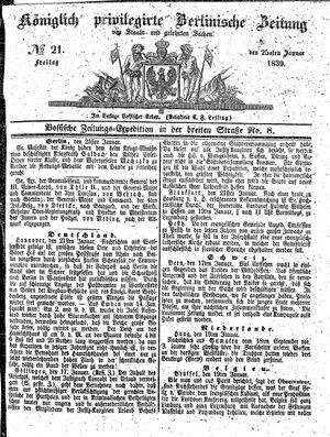 Königlich privilegirte Berlinische Zeitung von Staats- und gelehrten Sachen vom 25.01.1839