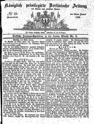 Königlich privilegirte Berlinische Zeitung von Staats- und gelehrten Sachen vom 26.01.1839