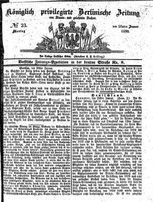 Königlich privilegirte Berlinische Zeitung von Staats- und gelehrten Sachen vom 28.01.1839