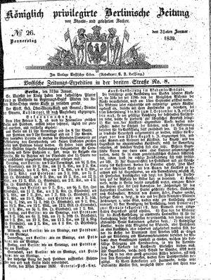 Königlich privilegirte Berlinische Zeitung von Staats- und gelehrten Sachen vom 31.01.1839