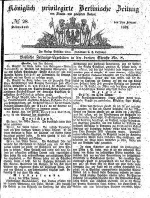 Königlich privilegirte Berlinische Zeitung von Staats- und gelehrten Sachen vom 02.02.1839
