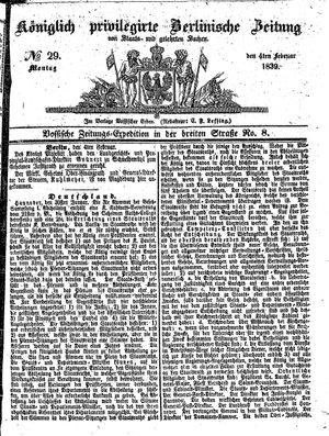 Königlich privilegirte Berlinische Zeitung von Staats- und gelehrten Sachen vom 04.02.1839