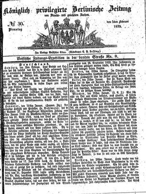 Königlich privilegirte Berlinische Zeitung von Staats- und gelehrten Sachen on Feb 5, 1839