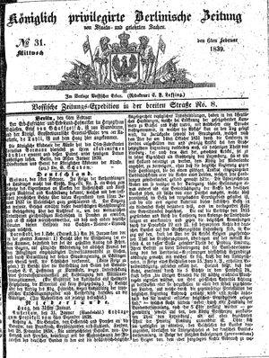 Königlich privilegirte Berlinische Zeitung von Staats- und gelehrten Sachen vom 06.02.1839