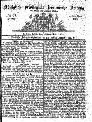 Königlich privilegirte Berlinische Zeitung von Staats- und gelehrten Sachen vom 08.02.1839