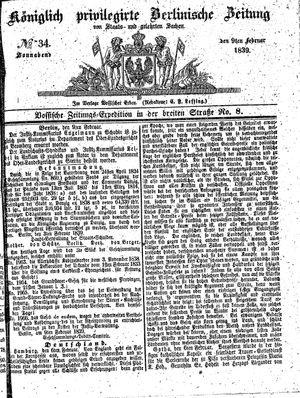 Königlich privilegirte Berlinische Zeitung von Staats- und gelehrten Sachen vom 09.02.1839