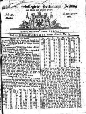 Königlich privilegirte Berlinische Zeitung von Staats- und gelehrten Sachen vom 11.02.1839