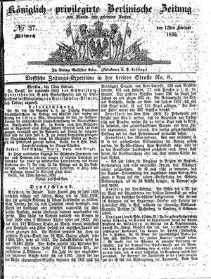 Königlich privilegirte Berlinische Zeitung von Staats- und gelehrten Sachen vom 13.02.1839