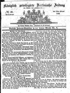 Königlich privilegirte Berlinische Zeitung von Staats- und gelehrten Sachen vom 16.02.1839