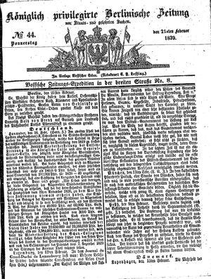 Königlich privilegirte Berlinische Zeitung von Staats- und gelehrten Sachen vom 21.02.1839