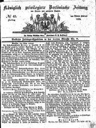 Königlich privilegirte Berlinische Zeitung von Staats- und gelehrten Sachen (22.02.1839)