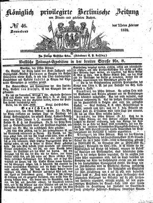 Königlich privilegirte Berlinische Zeitung von Staats- und gelehrten Sachen vom 23.02.1839