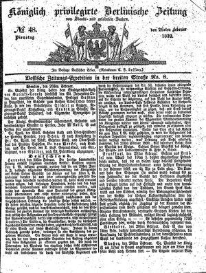Königlich privilegirte Berlinische Zeitung von Staats- und gelehrten Sachen vom 26.02.1839