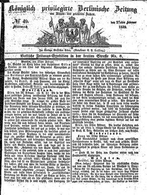 Königlich privilegirte Berlinische Zeitung von Staats- und gelehrten Sachen vom 27.02.1839