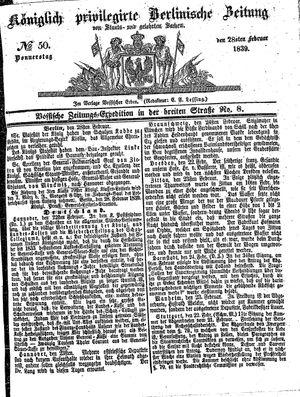 Königlich privilegirte Berlinische Zeitung von Staats- und gelehrten Sachen vom 28.02.1839