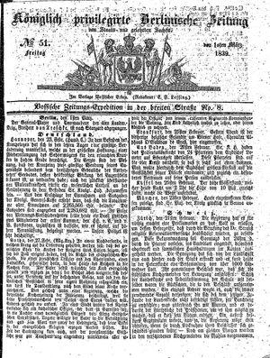 Königlich privilegirte Berlinische Zeitung von Staats- und gelehrten Sachen vom 01.03.1839