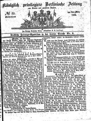 Königlich privilegirte Berlinische Zeitung von Staats- und gelehrten Sachen vom 02.03.1839