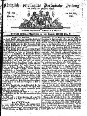 Königlich privilegirte Berlinische Zeitung von Staats- und gelehrten Sachen vom 04.03.1839