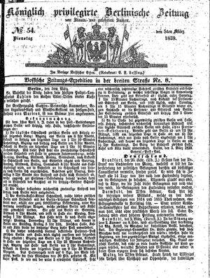 Königlich privilegirte Berlinische Zeitung von Staats- und gelehrten Sachen vom 05.03.1839