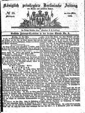 Königlich privilegirte Berlinische Zeitung von Staats- und gelehrten Sachen vom 06.03.1839