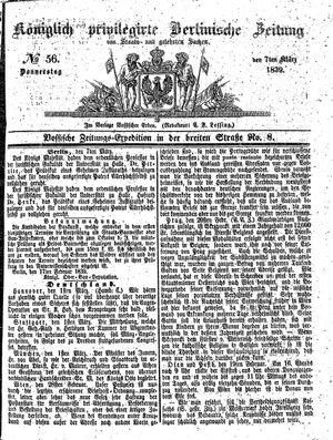 Königlich privilegirte Berlinische Zeitung von Staats- und gelehrten Sachen vom 07.03.1839