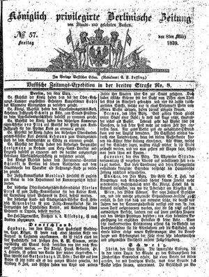 Königlich privilegirte Berlinische Zeitung von Staats- und gelehrten Sachen vom 08.03.1839
