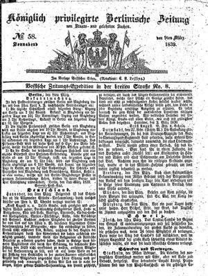 Königlich privilegirte Berlinische Zeitung von Staats- und gelehrten Sachen vom 09.03.1839