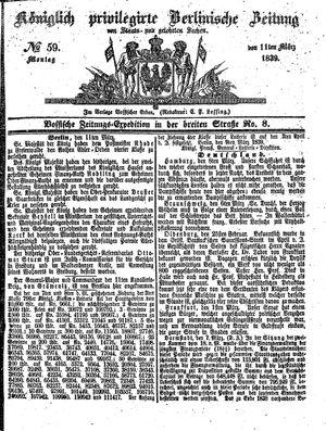 Königlich privilegirte Berlinische Zeitung von Staats- und gelehrten Sachen on Mar 11, 1839