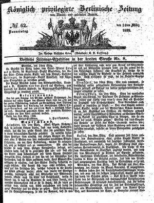Königlich privilegirte Berlinische Zeitung von Staats- und gelehrten Sachen vom 14.03.1839