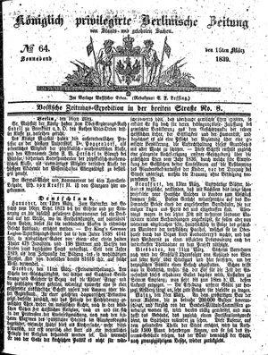 Königlich privilegirte Berlinische Zeitung von Staats- und gelehrten Sachen vom 16.03.1839