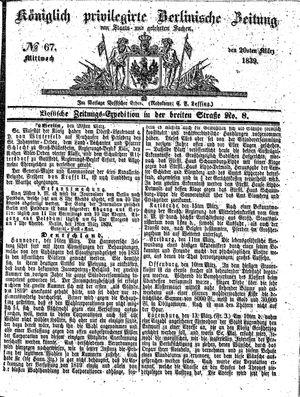 Königlich privilegirte Berlinische Zeitung von Staats- und gelehrten Sachen vom 20.03.1839