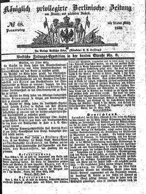 Königlich privilegirte Berlinische Zeitung von Staats- und gelehrten Sachen vom 21.03.1839