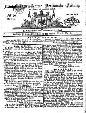 Königlich privilegirte Berlinische Zeitung von Staats- und gelehrten Sachen vom 02.04.1839