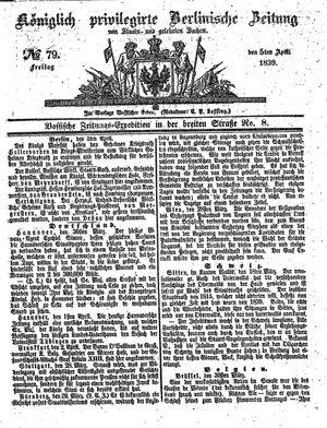 Königlich privilegirte Berlinische Zeitung von Staats- und gelehrten Sachen vom 05.04.1839
