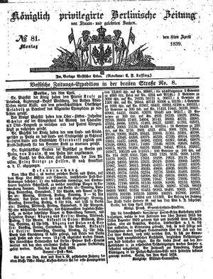 Königlich privilegirte Berlinische Zeitung von Staats- und gelehrten Sachen vom 08.04.1839