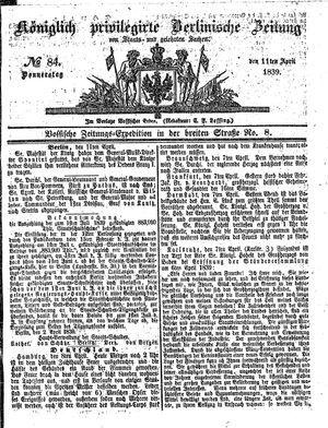 Königlich privilegirte Berlinische Zeitung von Staats- und gelehrten Sachen vom 11.04.1839