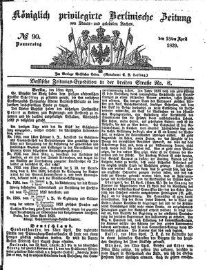 Königlich privilegirte Berlinische Zeitung von Staats- und gelehrten Sachen on Apr 18, 1839