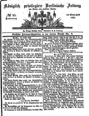 Königlich privilegirte Berlinische Zeitung von Staats- und gelehrten Sachen vom 25.04.1839