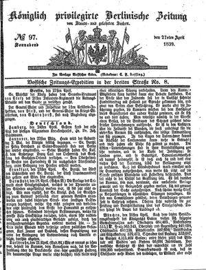 Königlich privilegirte Berlinische Zeitung von Staats- und gelehrten Sachen vom 27.04.1839