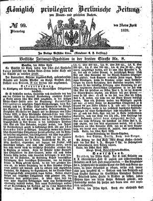 Königlich privilegirte Berlinische Zeitung von Staats- und gelehrten Sachen vom 30.04.1839
