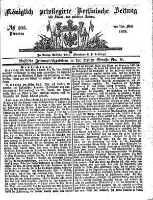 Königlich privilegirte Berlinische Zeitung von Staats- und gelehrten Sachen vom 07.05.1839