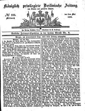 Königlich privilegirte Berlinische Zeitung von Staats- und gelehrten Sachen vom 08.05.1839