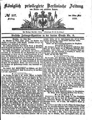 Königlich privilegirte Berlinische Zeitung von Staats- und gelehrten Sachen vom 10.05.1839
