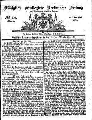 Königlich privilegirte Berlinische Zeitung von Staats- und gelehrten Sachen vom 13.05.1839