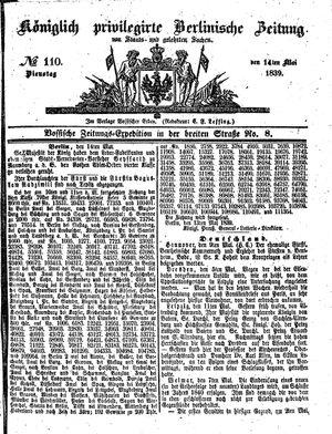 Königlich privilegirte Berlinische Zeitung von Staats- und gelehrten Sachen vom 14.05.1839