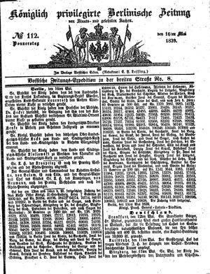 Königlich privilegirte Berlinische Zeitung von Staats- und gelehrten Sachen vom 16.05.1839
