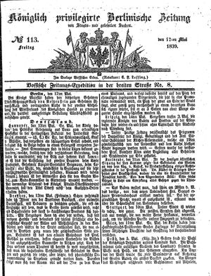 Königlich privilegirte Berlinische Zeitung von Staats- und gelehrten Sachen vom 17.05.1839