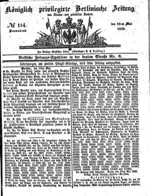 Königlich privilegirte Berlinische Zeitung von Staats- und gelehrten Sachen vom 18.05.1839