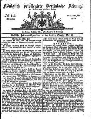 Königlich privilegirte Berlinische Zeitung von Staats- und gelehrten Sachen vom 21.05.1839