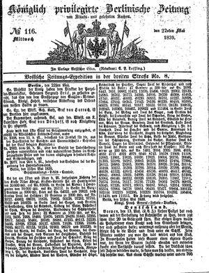 Königlich privilegirte Berlinische Zeitung von Staats- und gelehrten Sachen vom 22.05.1839